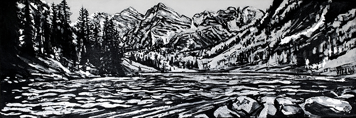 "Maroon Lake, black & white gesso, oil, silver leaf on canvas,12""x36"""