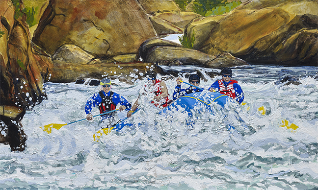"Whitewater Rafting, oil on canvas, 36""x60"