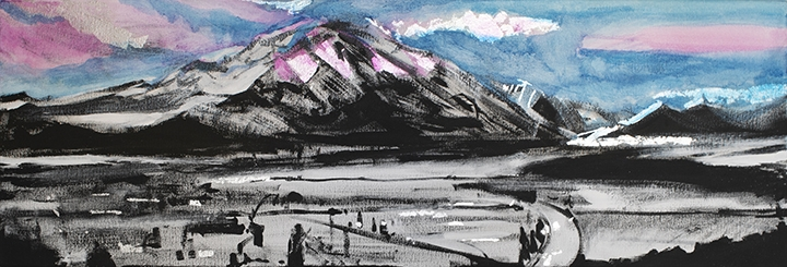 "Mount Sopris #2 Alpenglow, black & white gesso, oil, silver, gold & copper leaf on canvas,12""x36"""