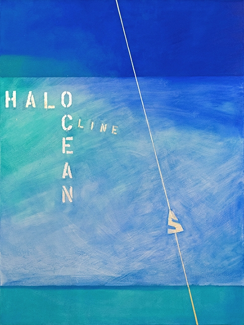 "Halocline, oil and white gold leaf on canvas, 30"" x 40"""