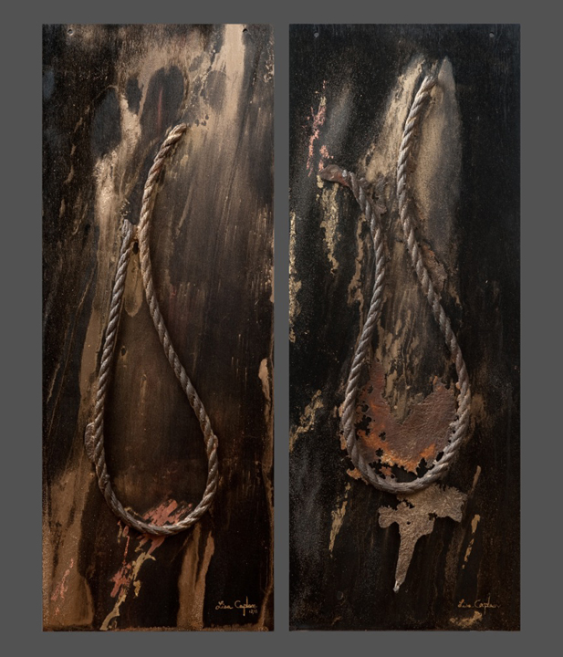 "Iron Forms.  caste-iron mounted on painted wood panel,dry-pigment, gold-leaf, diptych: 44"" x 16"""
