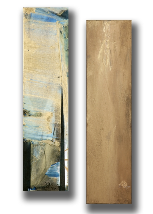 "Gold-Slide, oil and dry pigment on canvas, diptych 48"" x 12"""