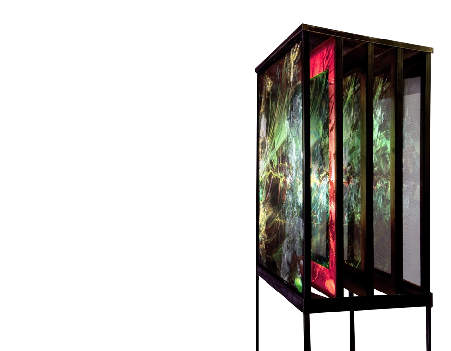 "Paradise, 5 wood-framed, splined panels: spray-paint, gold, copper & silver-leaf on mosquito-net, kodachrome projection of original slide, photographed in Ecuadorian Amazon, welded-steel framework, 84"" overall height, 25"" depth, 33"" width"