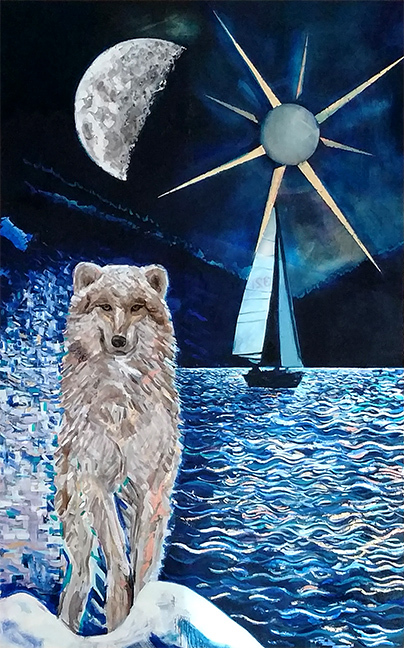 Wolf, Moon, Sailboat, oil on canvas