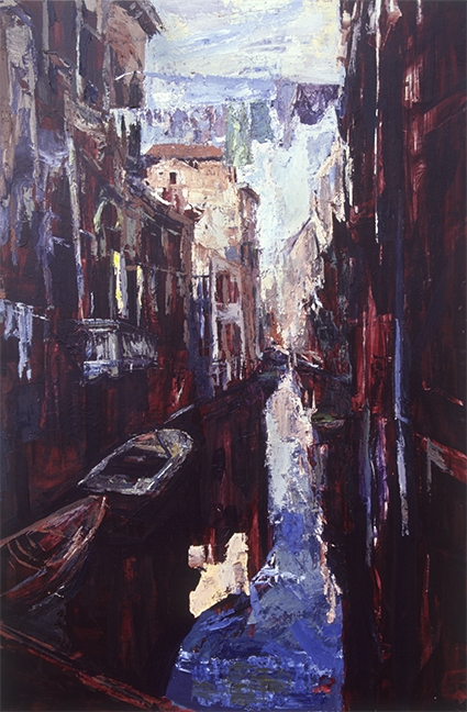 "Venice-Laundry, oil on panel, 48""x24"""