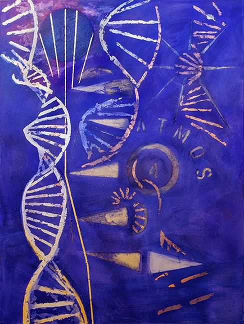 "DNA, oil, silver, copper and gold leaf on canvas, 30"" x 40"""