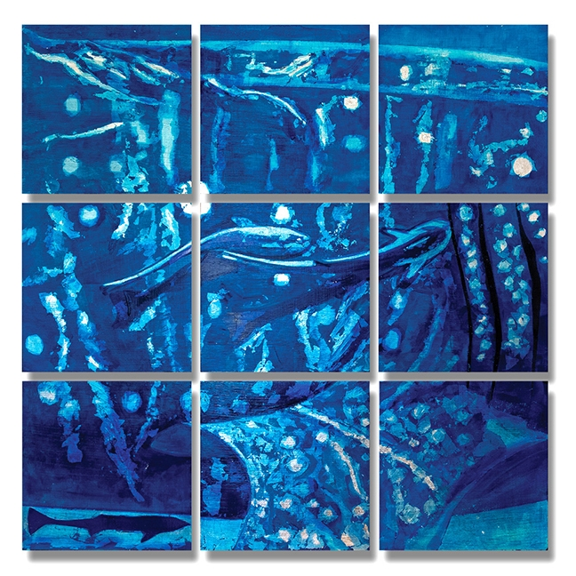 "Whale Shark, oil and silver leaf on 9 wood panels, size of each panel 12""x12"", overall size of nine-square, 36""x 36"""
