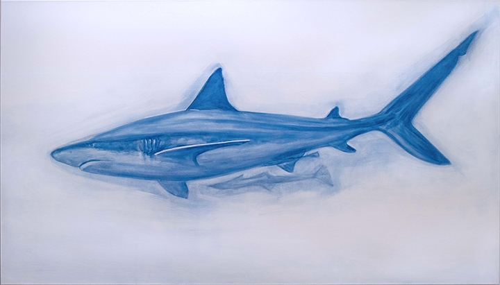 "Reef Shark, oil and silver leaf on canvas, 96"" x 48"""