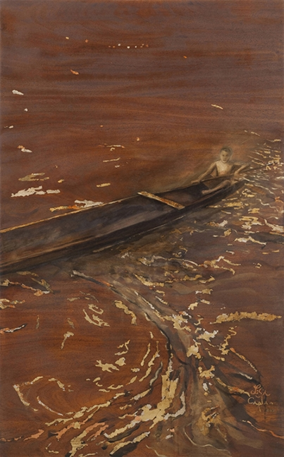 "Ecuadorian Amazon-Boy in Canoe, oil and gold leaf on wood panel, 42""x26"""