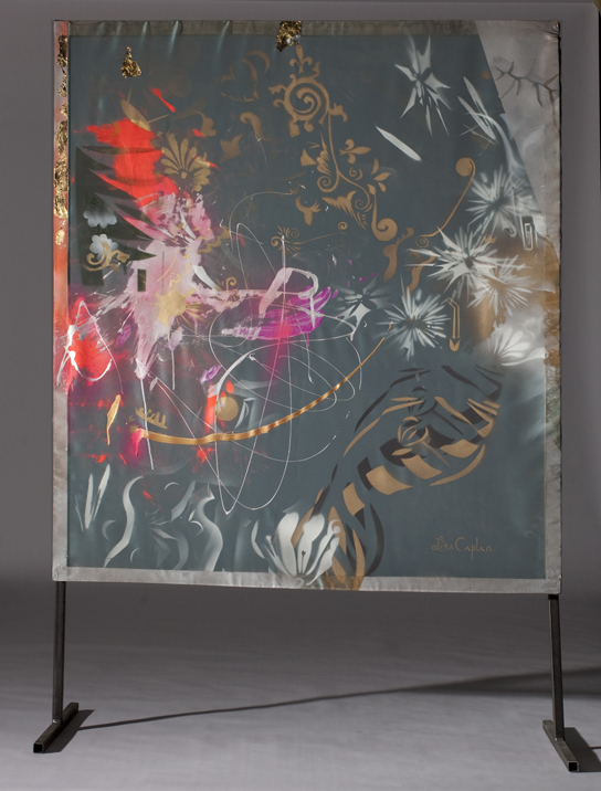 """Astral Forest"" spray-paint on organza, welded-steel legs, 52""x56"""