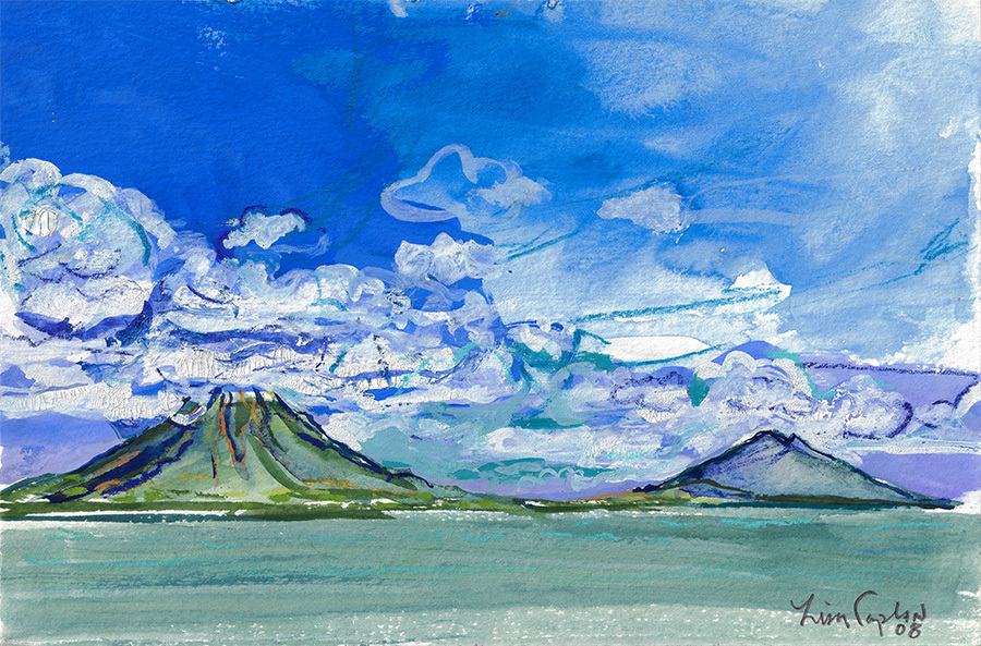 "Ometepe View from Ferry, gouache on watercolor paper, 6""x9"""