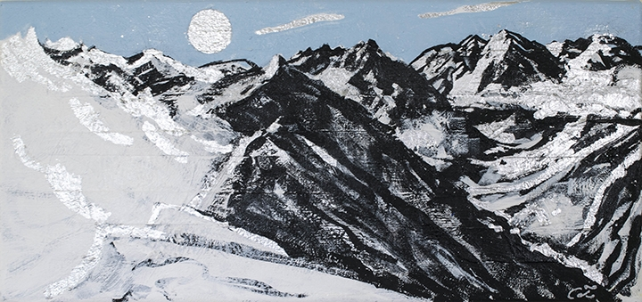 "View from Highlands Bowl #6, black gesso, oil, silver leaf on canvas, 8""x17"""