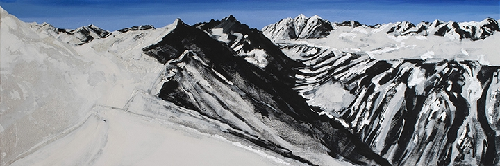 "View From Highlands Bowl #7, black & white gesso, oil, silver leaf on canvas,16""x48"""