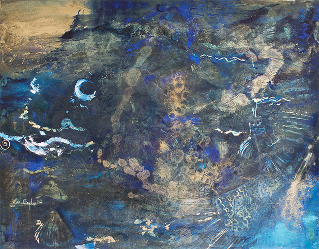 Deep Sea, oil, silver and gold leaf on canvas, 44x56""