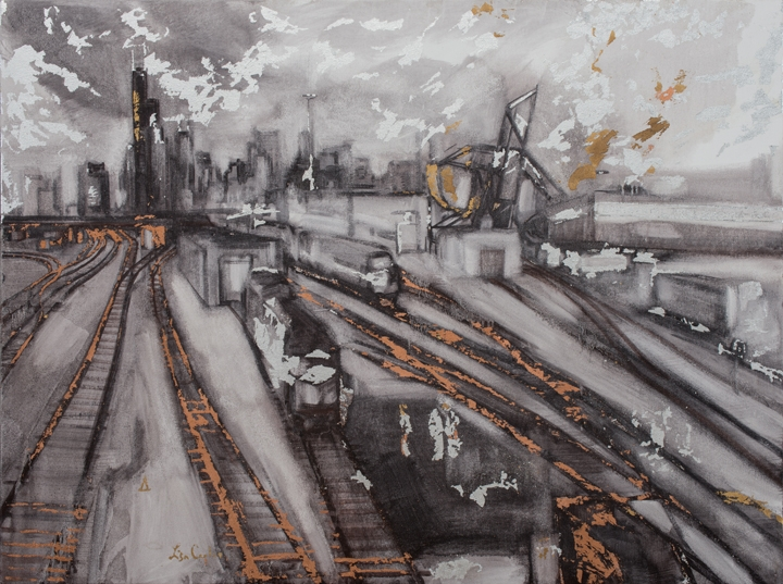 "Chicago 18th St., oil and copper, silver and gold leaf on canvas, 36"" x 48"""